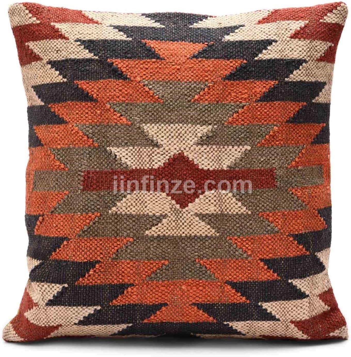 Wool Jute Hand Woven Kilim Cushion Cover Hand loom Rug Throw Rustic Pillow 1123