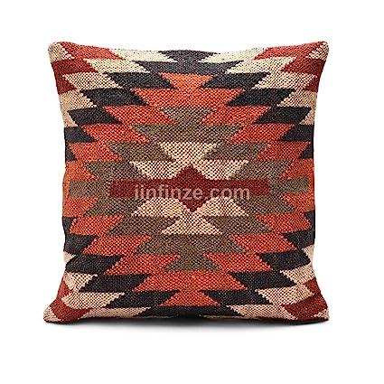 "Indian Wool Jute Cushion Cover Kilim Boho Sham Handwoven Pillow Case 18/"" Throw"