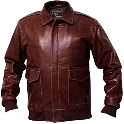 A2 Russet Brown Distressed Cowhide Leather Bomber Aviator Jacket at Amazon Men's Clothing store