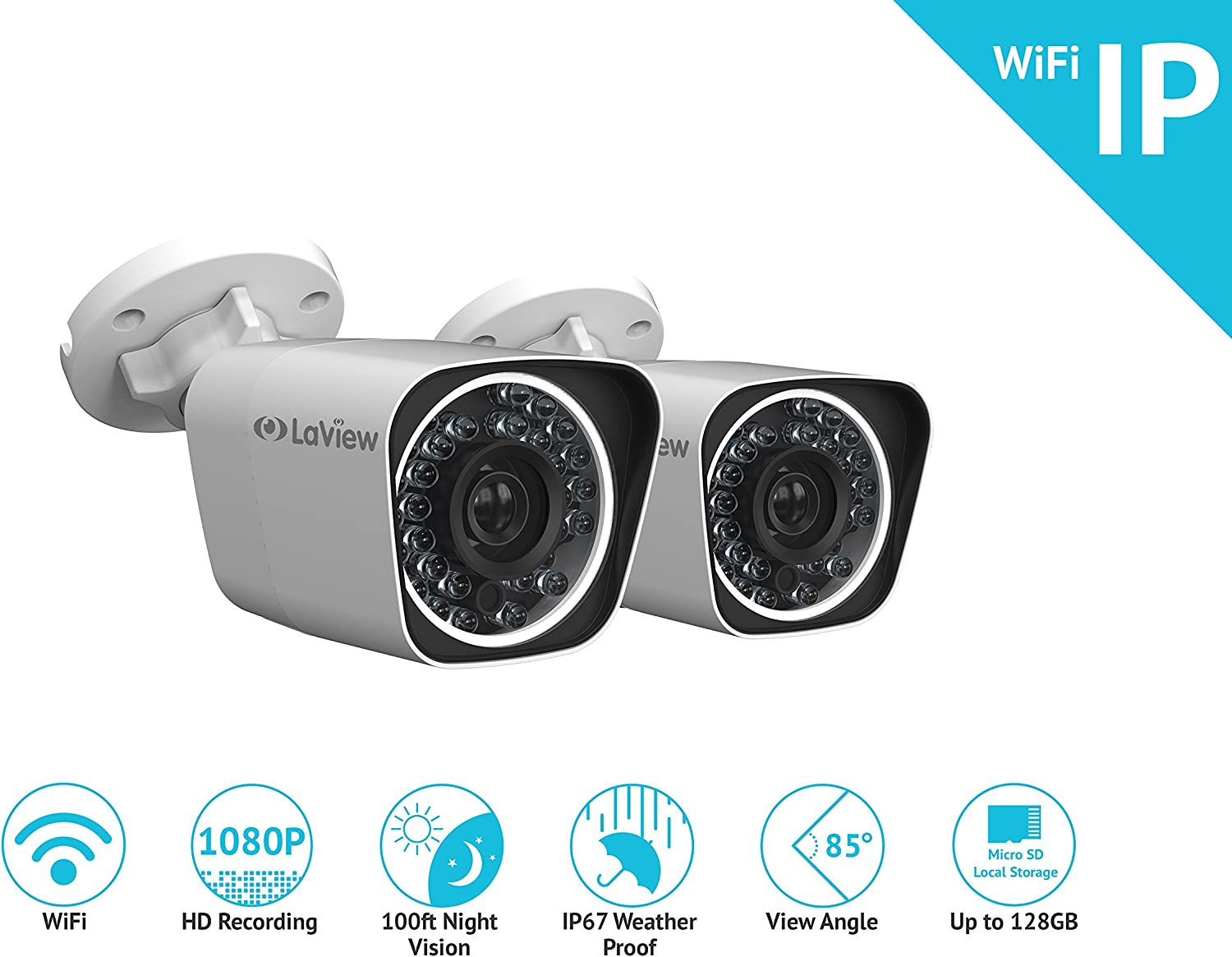 LaView WiFi 1080P HD Bullet Camera Indoor / Outdoor Day / Night Built in MicroSD slot, Stand Alone Ready, IP67 Weather Proof - LV-KPCW2BT