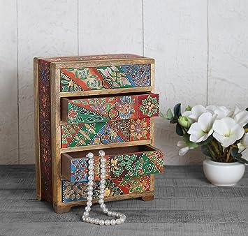 Store Indya Cadeau Nouvel An Commode En Bois Avec 5 Compartiments