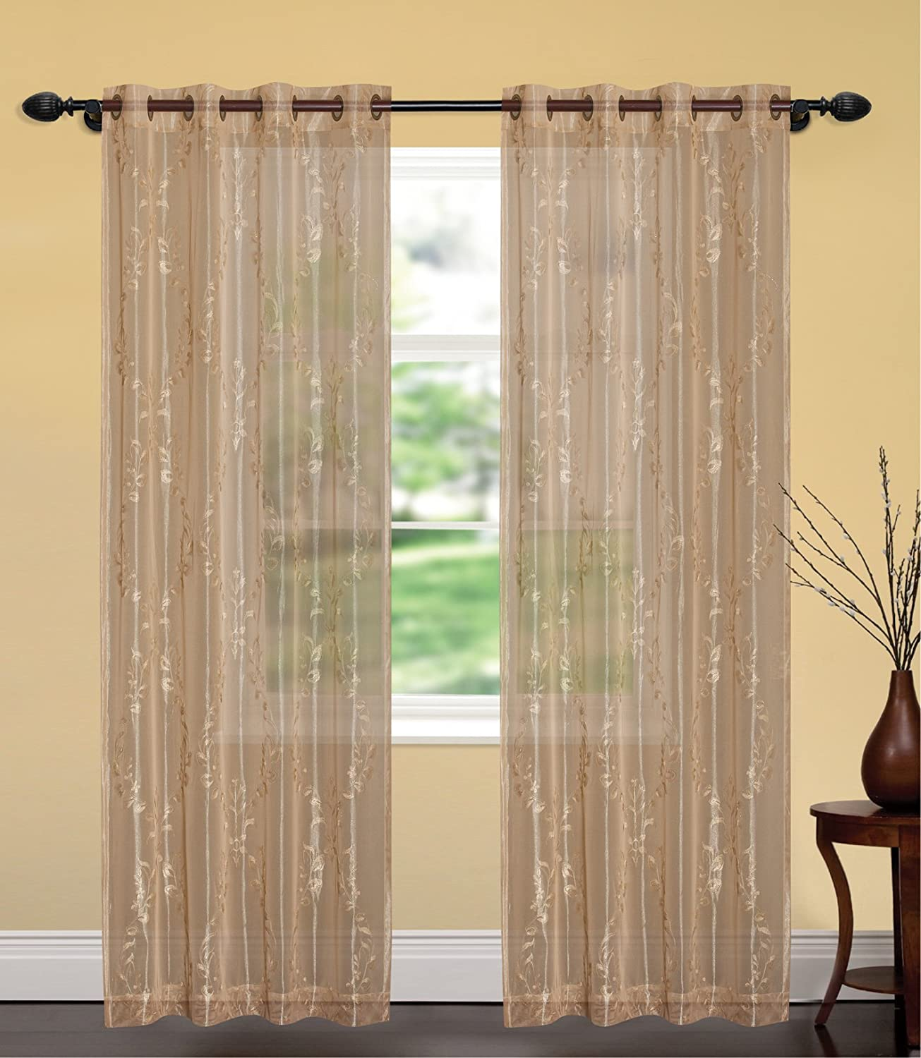 United Linens- Embroidery window curtains Brenda Gold