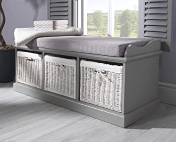 Nice Tetbury Grey Storage Bench With 3 White Baskets. Lovely Matte Grey Bench  With Cushion And Storage Baskets. Fully Assembled: Amazon.co.uk: Kitchen U0026  Home