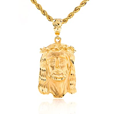 Lifetime jewelry jesus pendant face of christ 24k gold over semi lifetime jewelry jesus pendant face of christ 24k gold over semi precious metals aloadofball Images