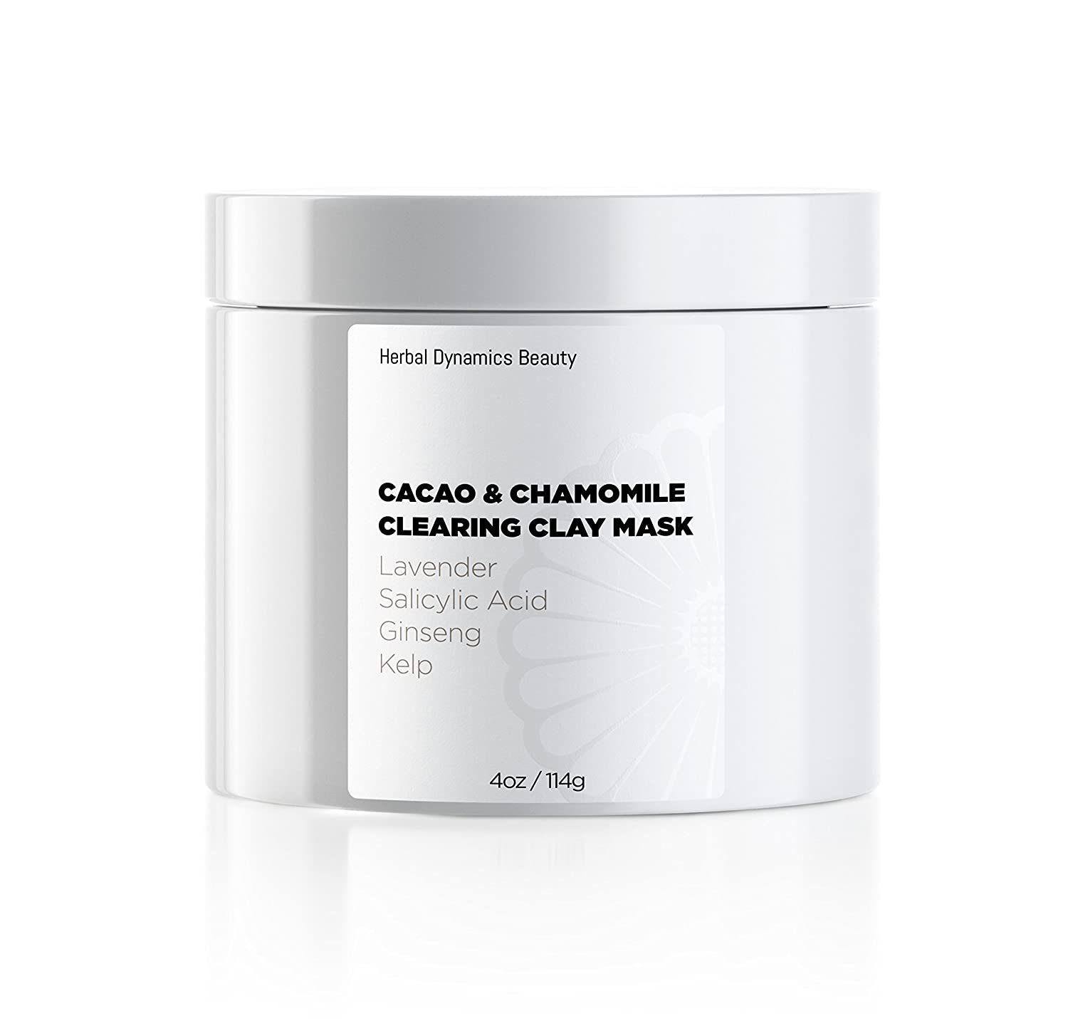 HD Beauty Cacao & Chamomile Clearing Clay Mask with Bentonite Clay, Salicylic Acid + Sulfur for Pore Refining and Calendula + Chamomile for Soothing, 4 oz.