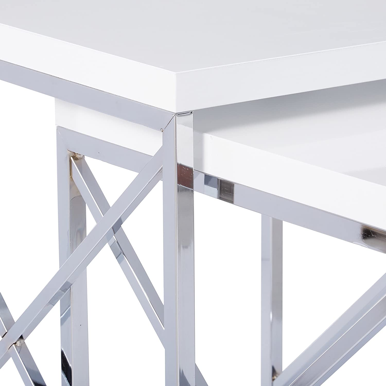 Monarch Specialties Glossy White and Chrome Metal Nesting Table