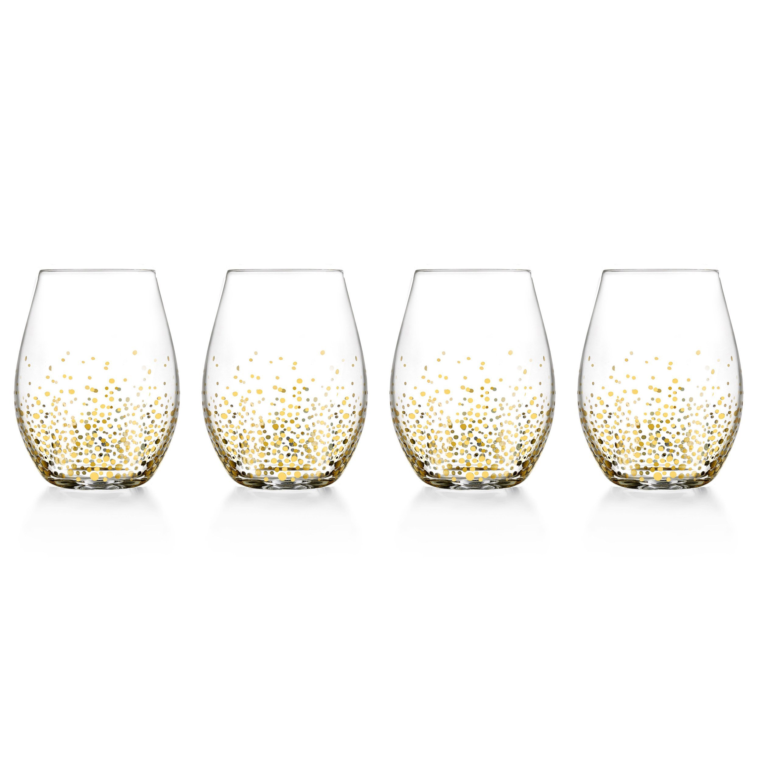 Fitz and Floyd Luster Stemless Glasses (Set of 4), Gold
