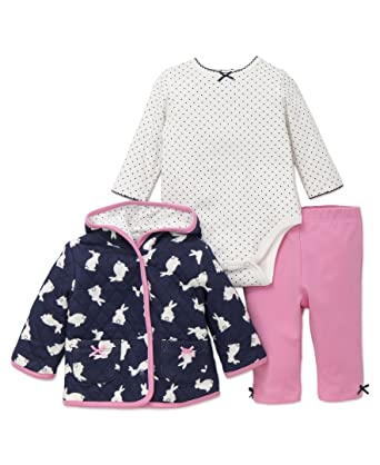 a107fe7a4 Amazon.com: Little Me Baby Girl's Newborn 3 Piece Hoodie Set: Clothing