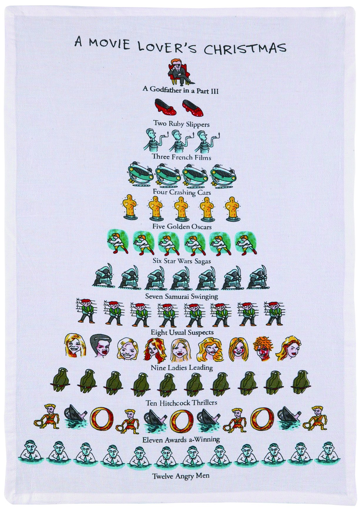 Mistletoe & Co. a Movie Lover's Christmas Kitchen Towel, 18'' x 26''