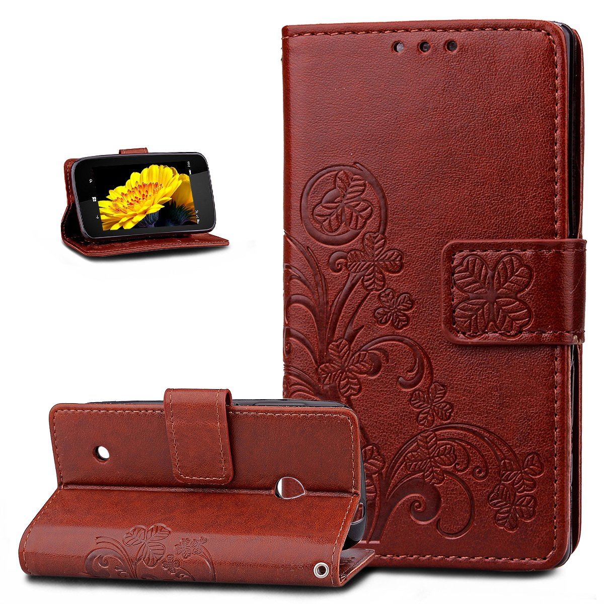 Nokia Lumia 530 Case, Nokia Lumia 530 Cover, ikasus Embossing Clover Flower Floral Pattern PU Leather Flip Fold Wallet Pouch Stand Credit Card ID Holders Case Cover for Nokia Lumia 530, Purple