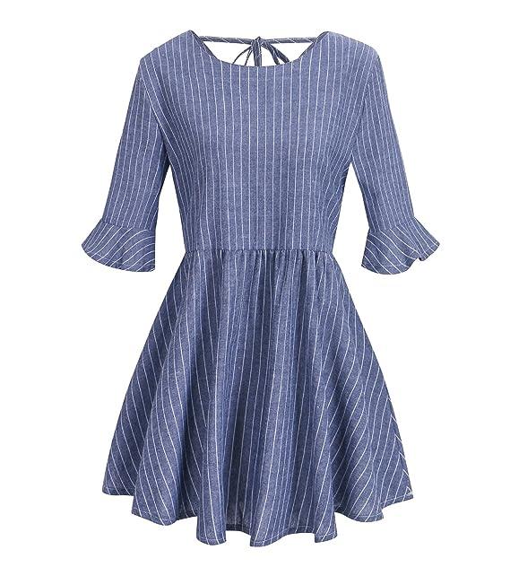 4c2fd52e9 Beauty7 Rayas Blusas Mujer Verano Atada a la Cintura Camisetas Vestido  Elegante Mangas Corta Cuello Redondo Camisas T Shirt Tops Parte Superior  Casual ...