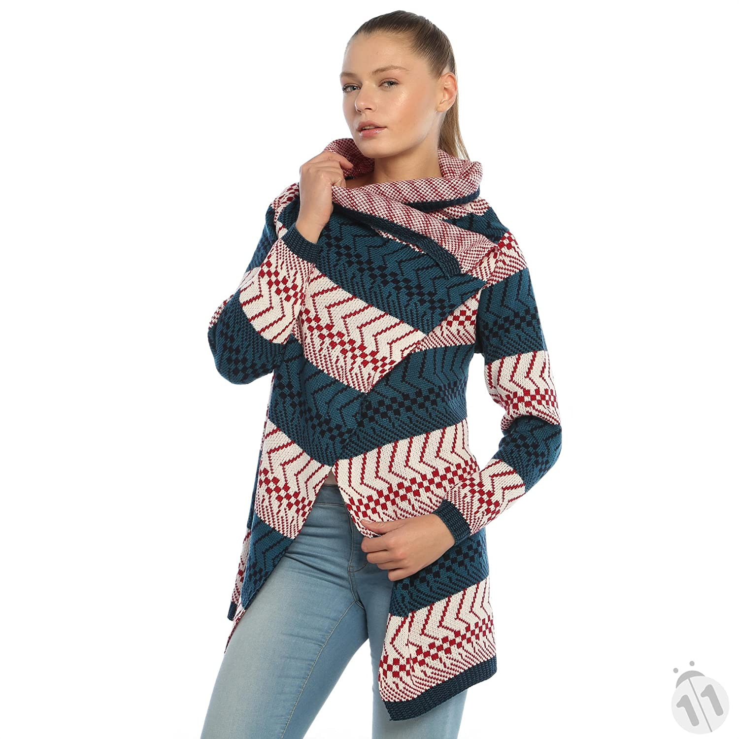 Polkadot Classic Fit Poncho in Green and red