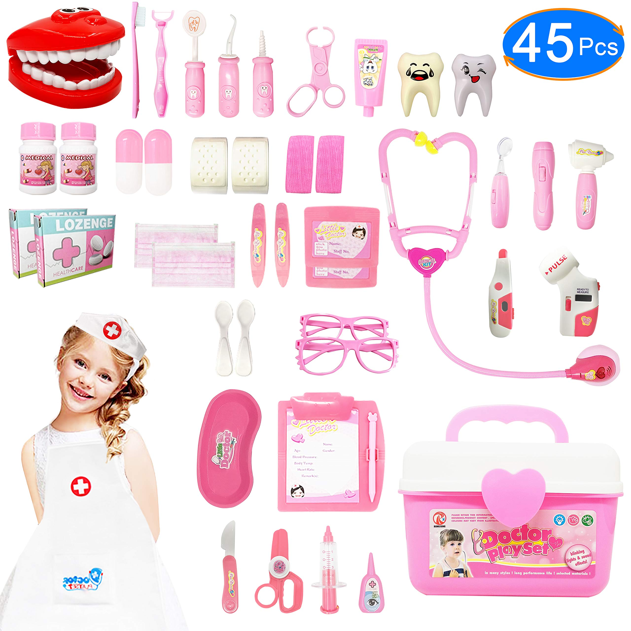 JGSY Kids Doctor Kit, 45 Pcs Pretend Play Toys Dentist Medical Educational Toy with Electronic Stethoscope and Coat, School Classroom and Doctor Roleplay Dress-Up by JGSY