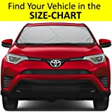 Windshield Sun Shade for Car SUV Truck Minivan Luxurious-Ultra-Premium 210T Nylon Size-Chart Available UV Ray Reflector Sunshade Your Vehicle Cool Find Your Exact Model Fit