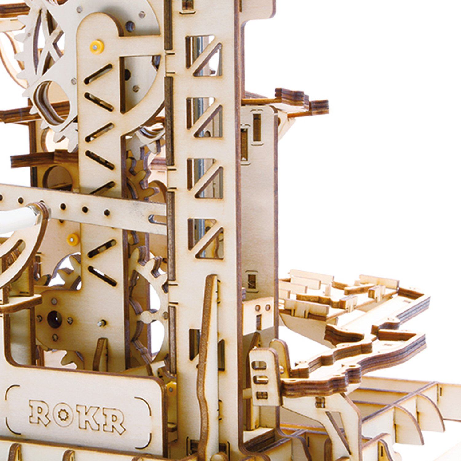 ROBOTIME 3D Wooden Puzzle Brain Teaser Toys Mechanical Gears Kit Unique Craft Kits Tower Coaster with Steel Balls Executive Desk Toys Best Gifts for Adults and Kids by ROBOTIME (Image #3)