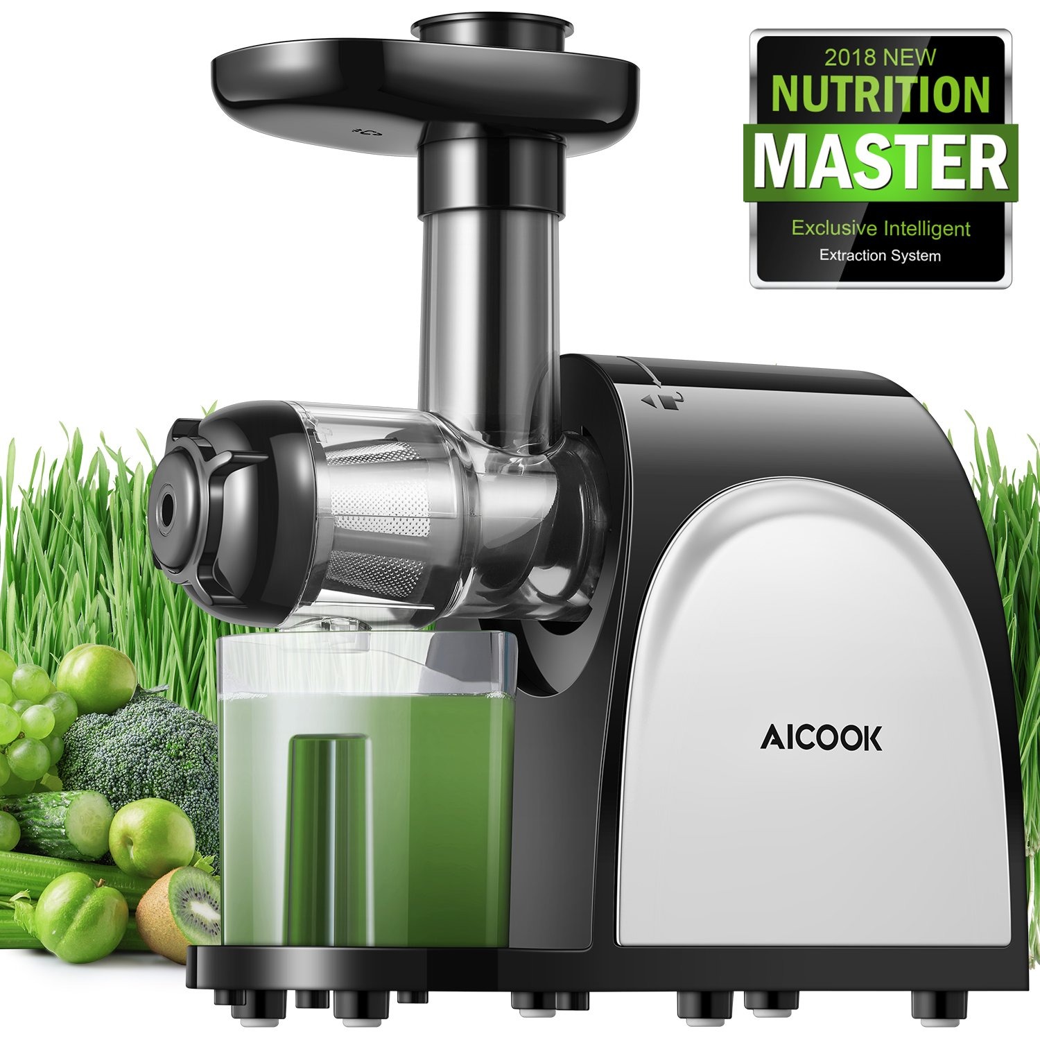 Juicer Masticating Juicer, Aicook Juice Extractor, Cold Press Juicer Machine, Higher Juicer Yield and Drier Pulp, with Quiet Motor and Reverse Function, Easy to Clean with Brush