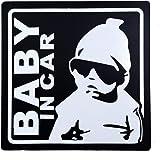 BABY IN CAR 赤ちゃん乗車中 マグネット 外貼り ステッカー12cm ブラック
