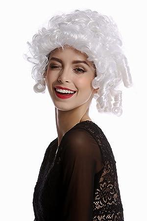 WIG ME UP ® - 90906-ZA62 Peluca Mujer Halloween Carnaval Corto Blanco tirabuzónes Noble