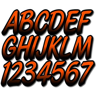"Stiffie Whipline Orange/Black 3"" Alpha-Numeric Registration Identification Numbers Stickers Decals for Boats & Personal Watercraft: Automotive"