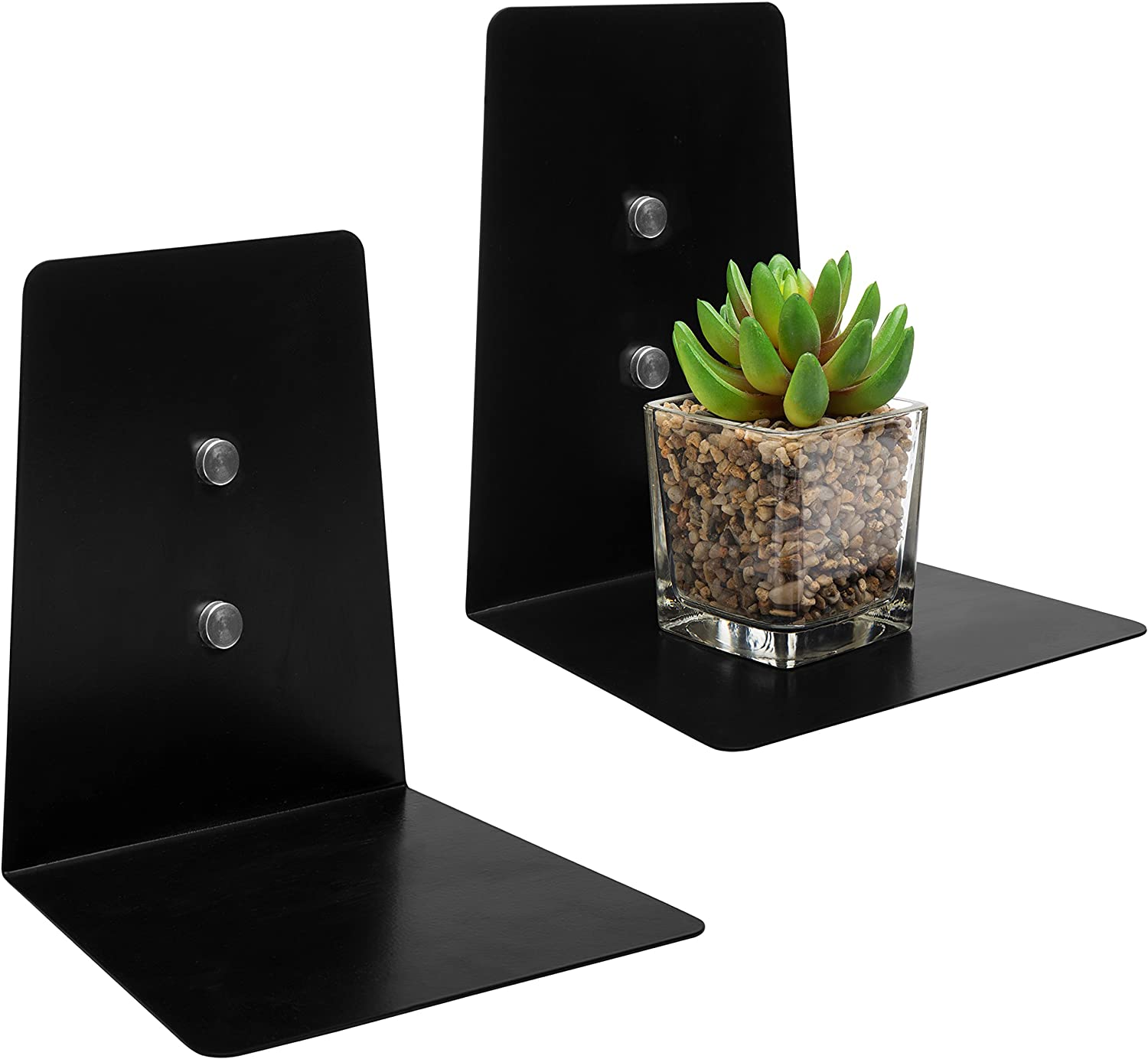 MyGift Modern 7-Inch Rectangular Black Metal Floating Accent Shelf, Set of 2