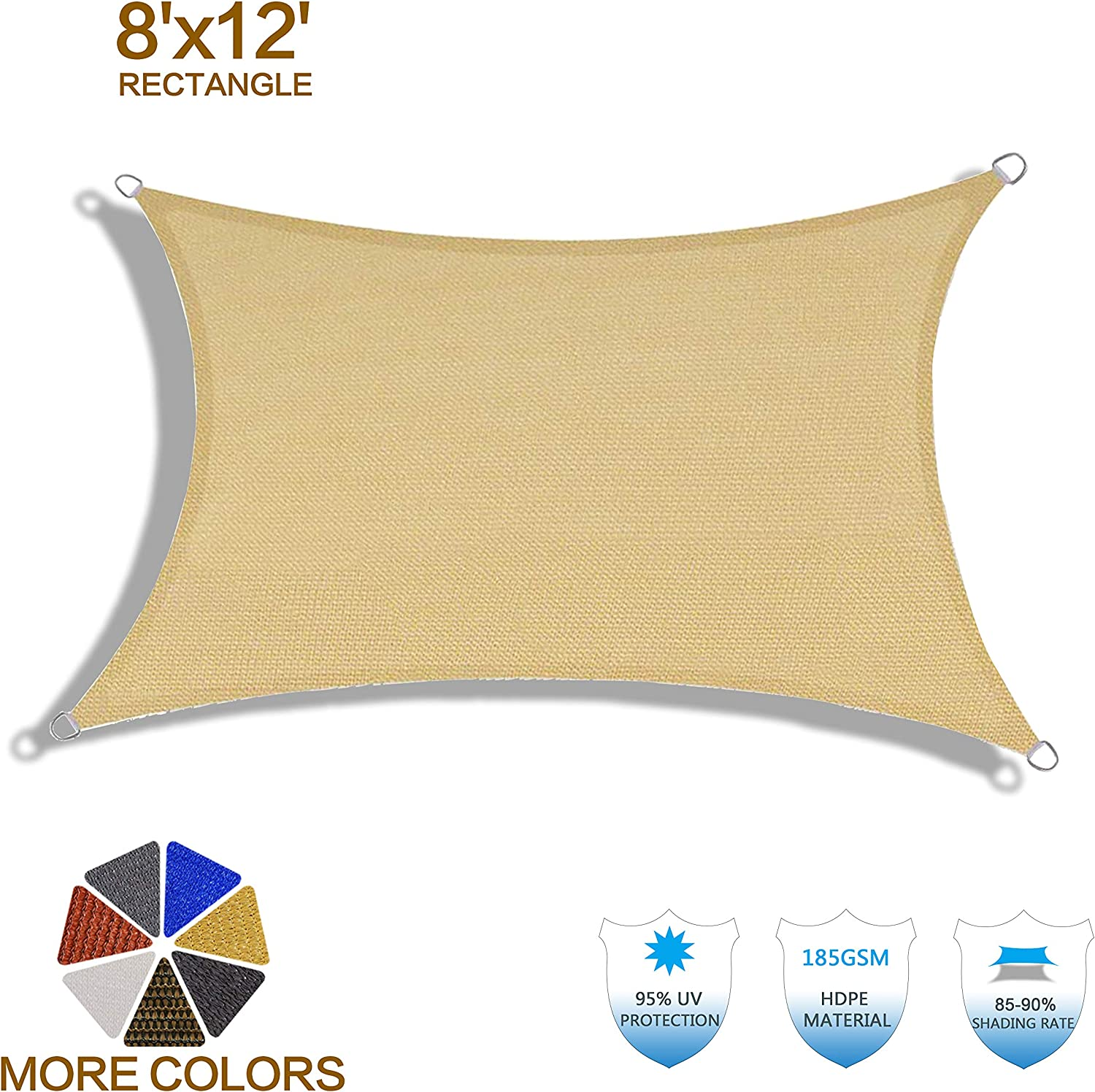 HENG FENG 8'x12' Sand Rectangle Sun Shade Sail UV Block for Patio Deck Yard and Outdoor