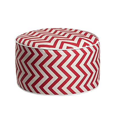 Art Leon Outdoor Inflatable Ottoman Red Sawtooth Pattern Round Patio Footstool for Kids and Adults, Patio, Deck, Front Porch, Backyard, Garden : Garden & Outdoor