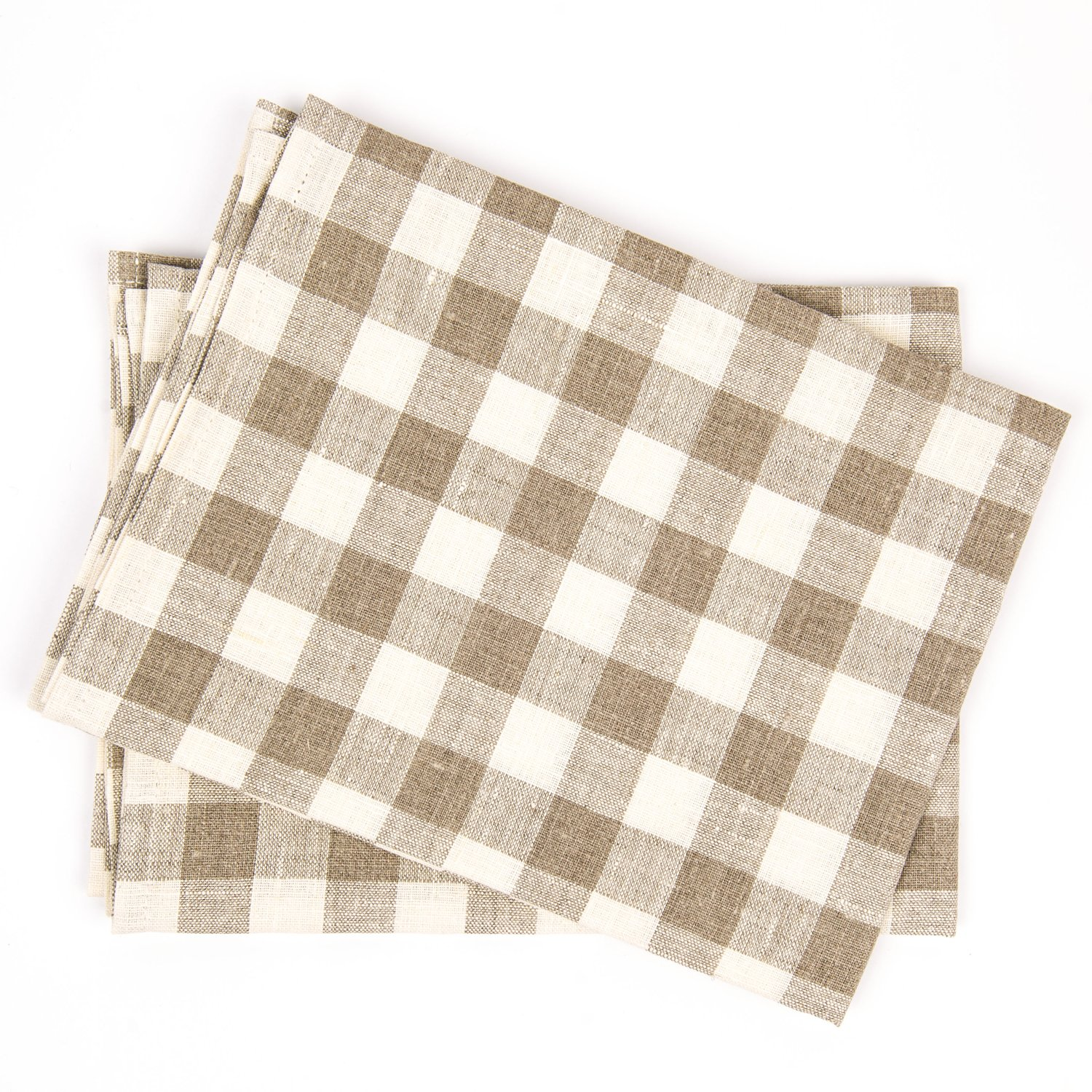 19 by 28-Inch LinenMe Check X2 Tea Towels Natural//Off-White