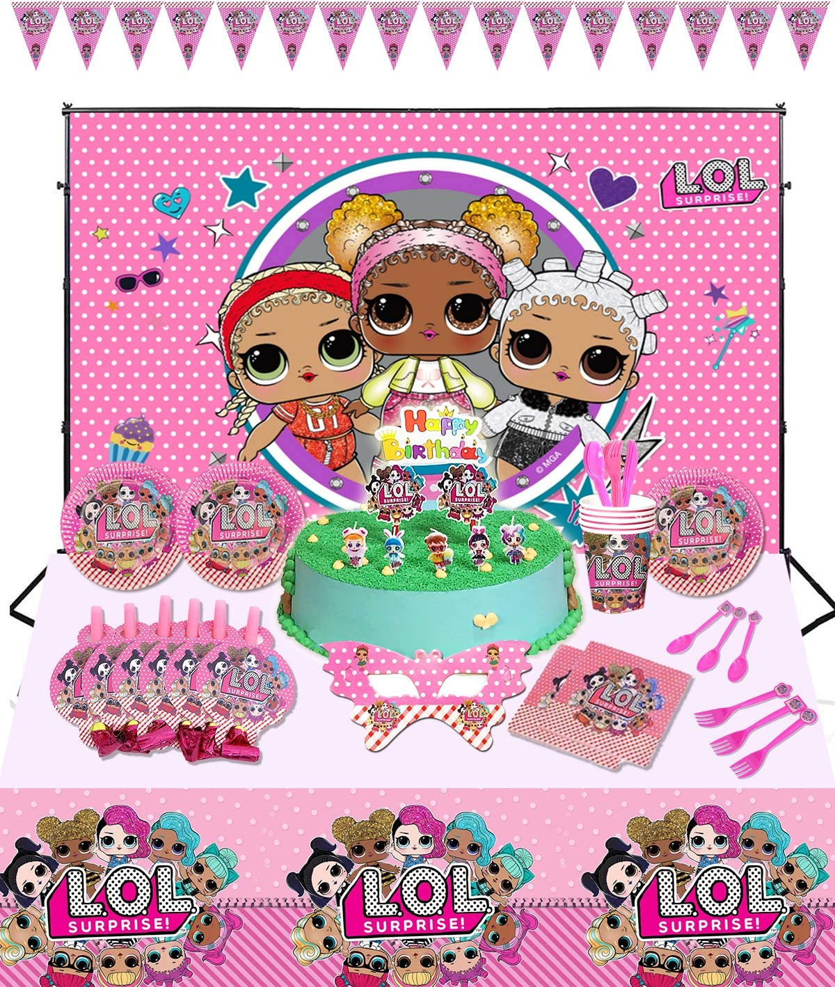 Lo1 Birthday Party Supplies Set,104pcs Birthday Decorations,Tablecloth,Plates, Napkins,Pennant,Blowouts,Knife,Spoon, 10Pcs Fork,paper cups,mask,Cake Candles Toppers,Cake Topper,Decorations Backdrop1