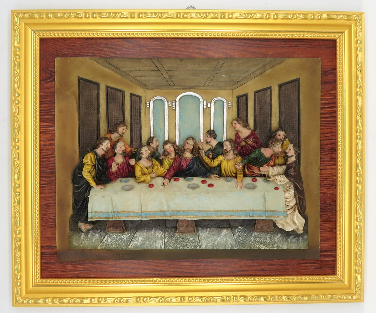 GGCI Hand Painted Resin Plate Décor Resin Cameo Sculpture Statue Figure and wooden frames Last supper by GGCI (Image #1)