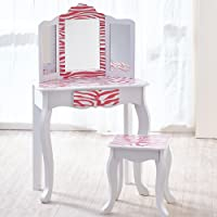 Mesa de tocador rosa de madera con espejo