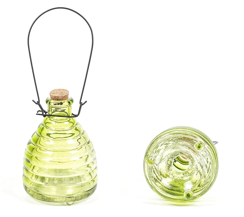 wieder verwendbar,13 cm Gr/ün oder Orange giftfrei lieferbar in den Farben Rot Gelb Gelb Insektenfalle//Wespenfalle zum H/ängen oder Stellen aus Glas