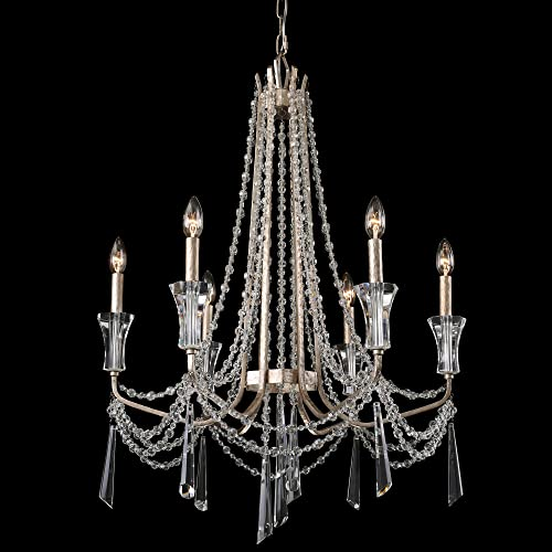 Barcelona 6-Light Crystal Chandelier – Transcend Silver Finish