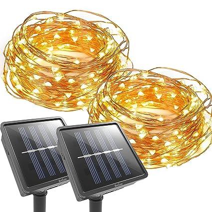 coope outdoor string lights 100 led solar christmas lighting decorative light patio deck - Solar Christmas Lights Amazon