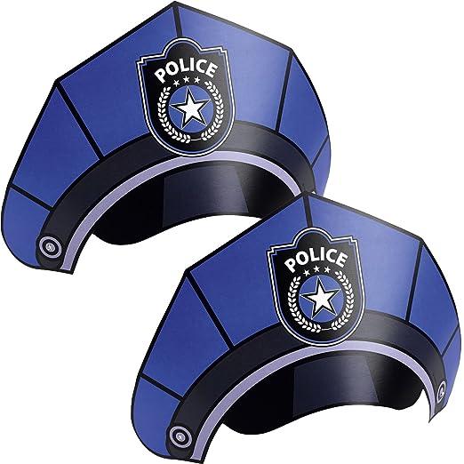 8 Partyhütchen als POLIZEI-HÜTE für Party und Geburtstag // AMSCAN // Kindergeburtstag Deko Verkleidung Mottoparty Polizisten