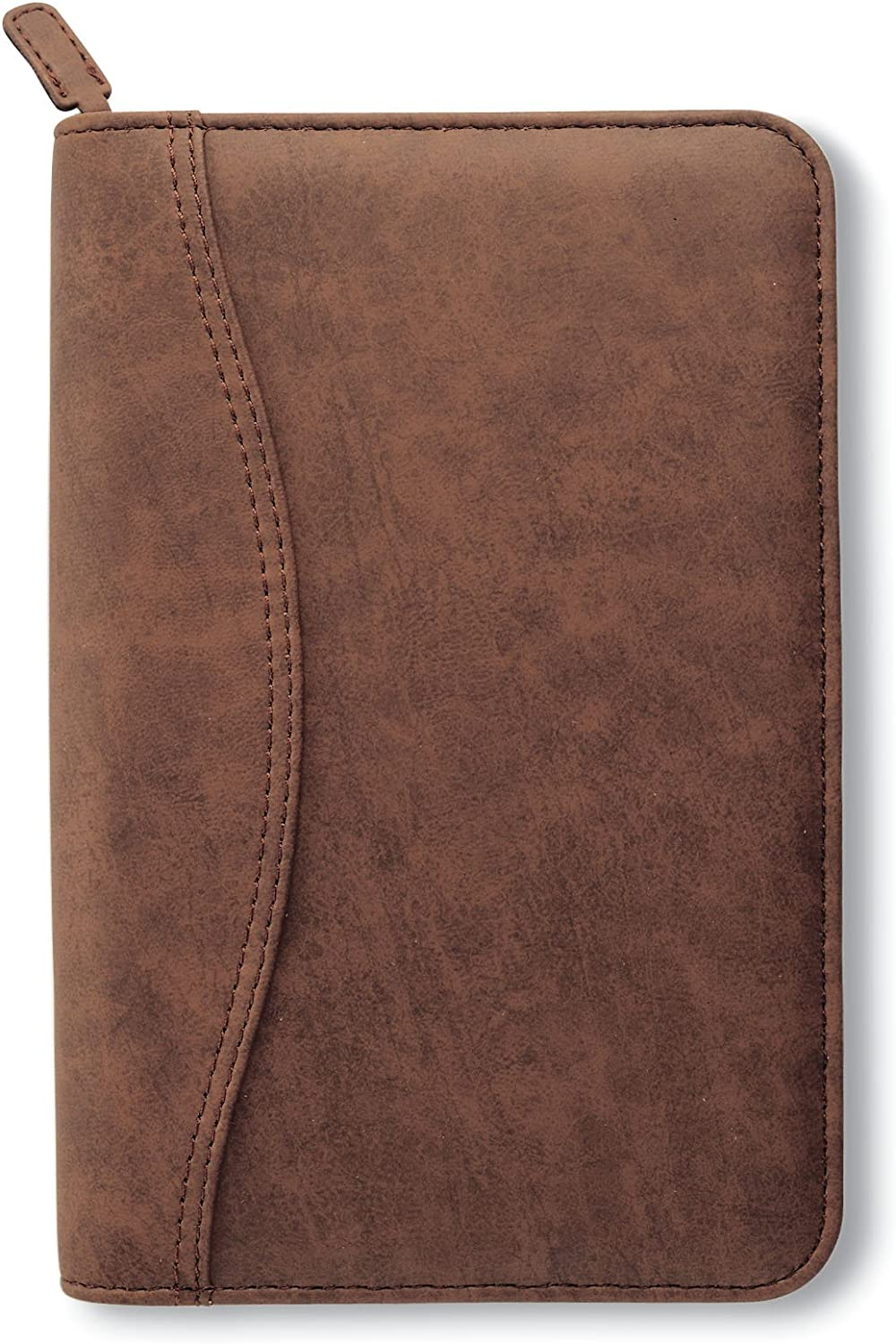 Day-Timer Simulated Distressed Leather Organizer Starter Set, Zip Closure, 8.5 x 5.5 Inches, Brown (D43074)