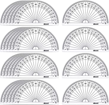 Red Green Yellow Blue 24 Pack Plastic Protractors Math Protractor 180 Degrees 4 Inch