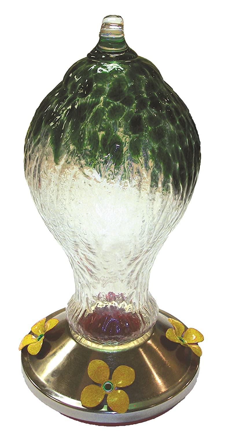 Gardman BA05717 Textured Glass Metal Base Hummingbird Feeder, Green Gardman USA