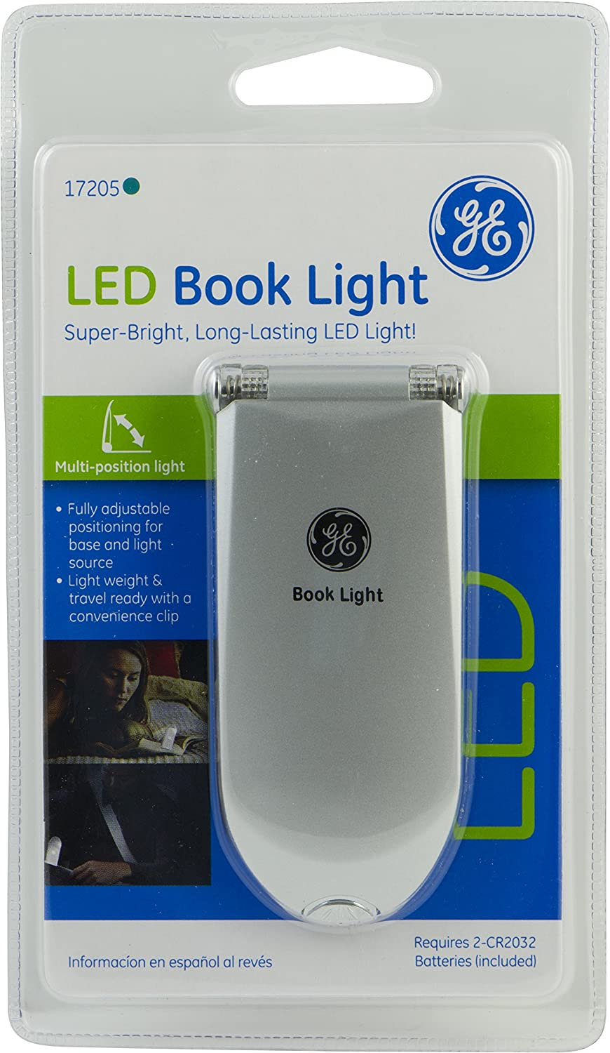 GE Book Light, Clip-On LED, Battery Operated, Silver 17205 - - Amazon.com