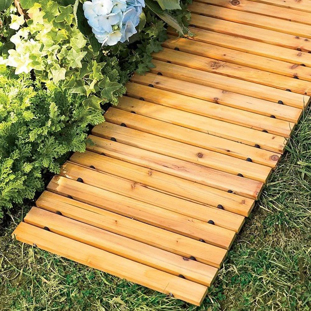 Garden Pathway 8'Ft Walkway Wooden Portable Lawn Landscaping Outdoor Path