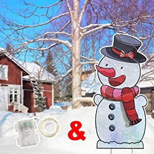 FLY HAWK Christmas Outdoor Decorations, 40in Snowman Xmas Yard Stakes Signs with String Lights Weather Resistant Holiday New Year Home Decor for Winter Lawn Yard Patio