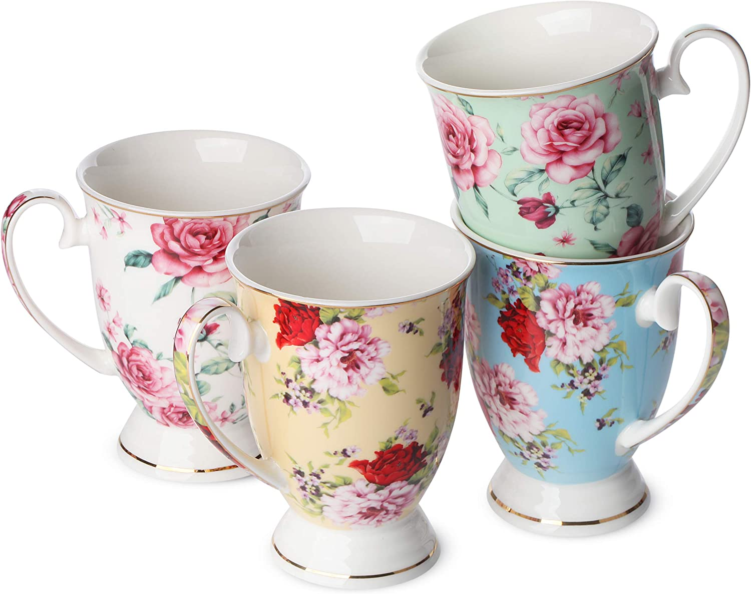 Amazon Com Btat Coffee Mugs 12 Oz Set Of 4 Floral Mugs Porcelain Bone China Tea Mug Coffee Cups Coffee Mug Set Large Coffee Mugs Coffee Cups Set Mugs For Coffee Tea Cups