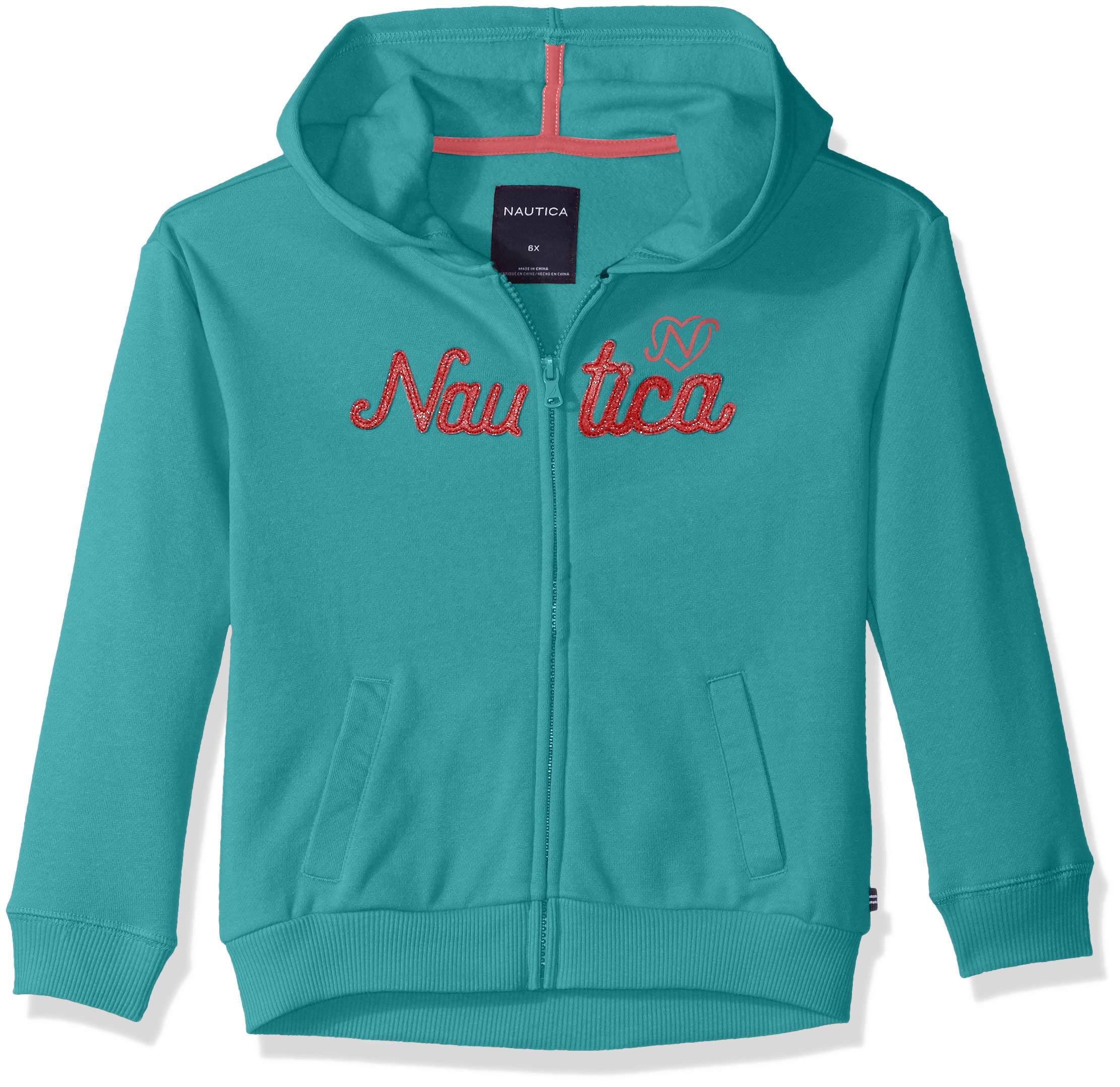 Nautica Little Girls' Long Sleeve Hoody, Dark Aqua Logos, 5