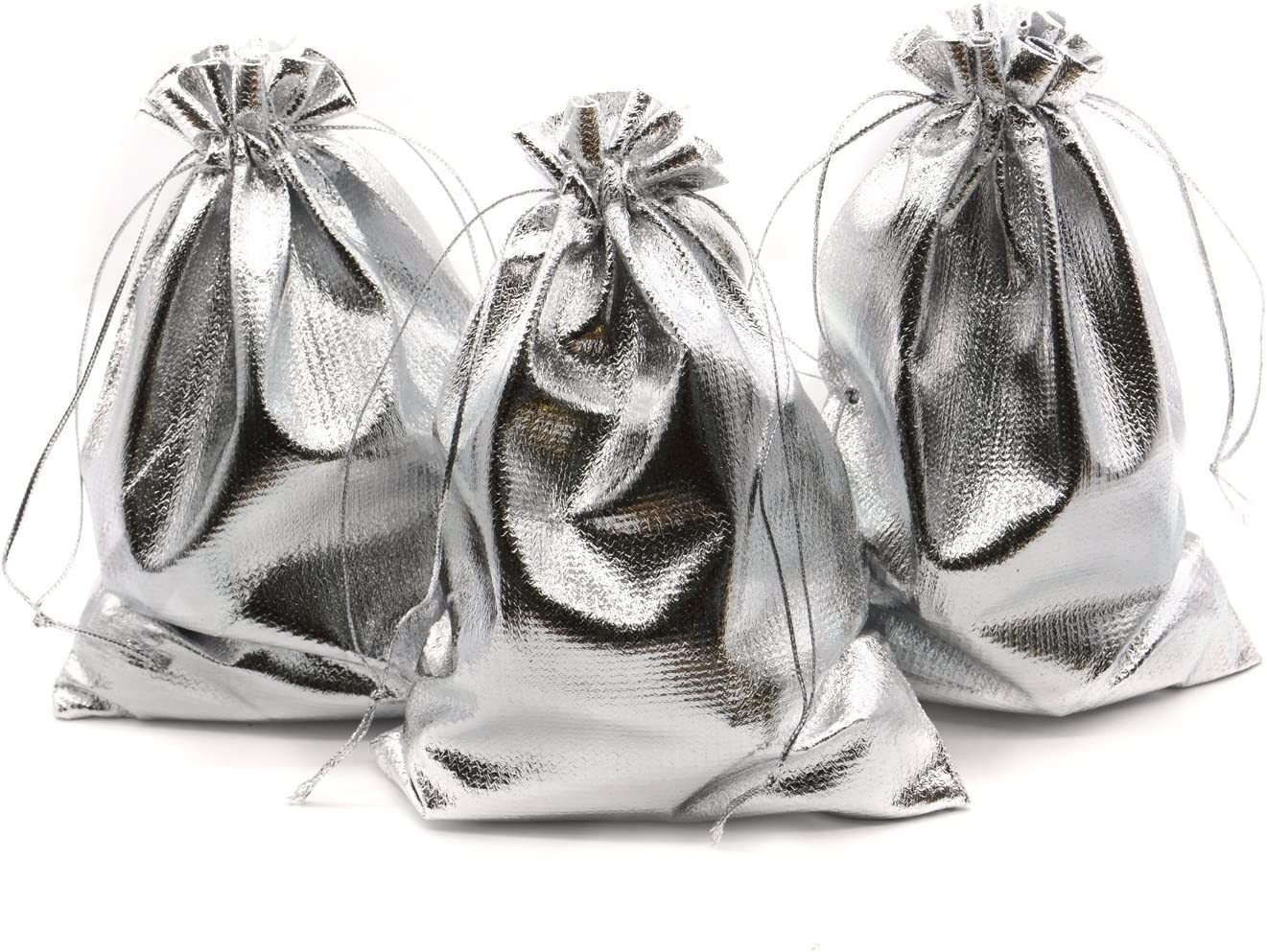 Amazon Com Beavoing Pack Of 100 5 X 7 Heavy Duty Gold Drawstring Organza Jewelry Pouches Wedding Party Christmas Favor Gift Candy Chocolate Bags Silver 5 X 7 Health Personal Care