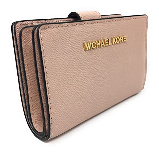 6895c990304a1f Michael Kors Jet Set Travel Saffiano Leather Bifold Zip Coin Wallet  (Ballet) at Amazon Women's Clothing store:
