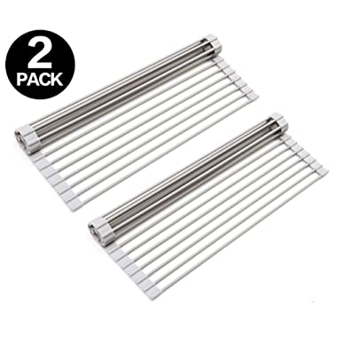Surpahs Over The Sink Multipurpose Roll-Up Dish Drying Rack (Warm Gray, Large) - 2 Pack
