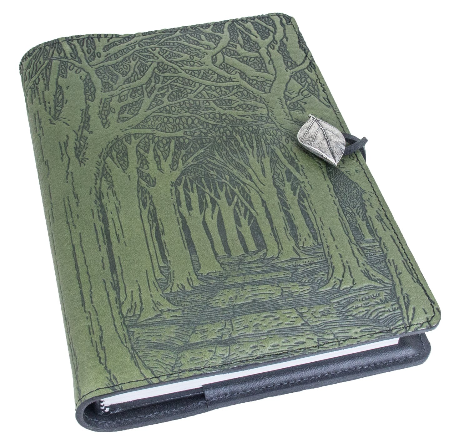 Genuine Leather Refillable Journal Cover with a Hardbound Blank Insert, 6x9 Inches, Avenue of Trees, Fern Color with Pewter Button, Made in The USA by Oberon Design