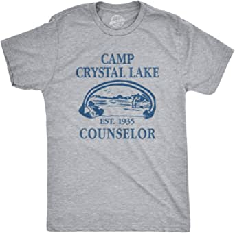 Mens Camp Crystal Lake T shirt Funny Graphic Camping Vintage Adult Novelty Tees (Light Heather Grey) - 5XL
