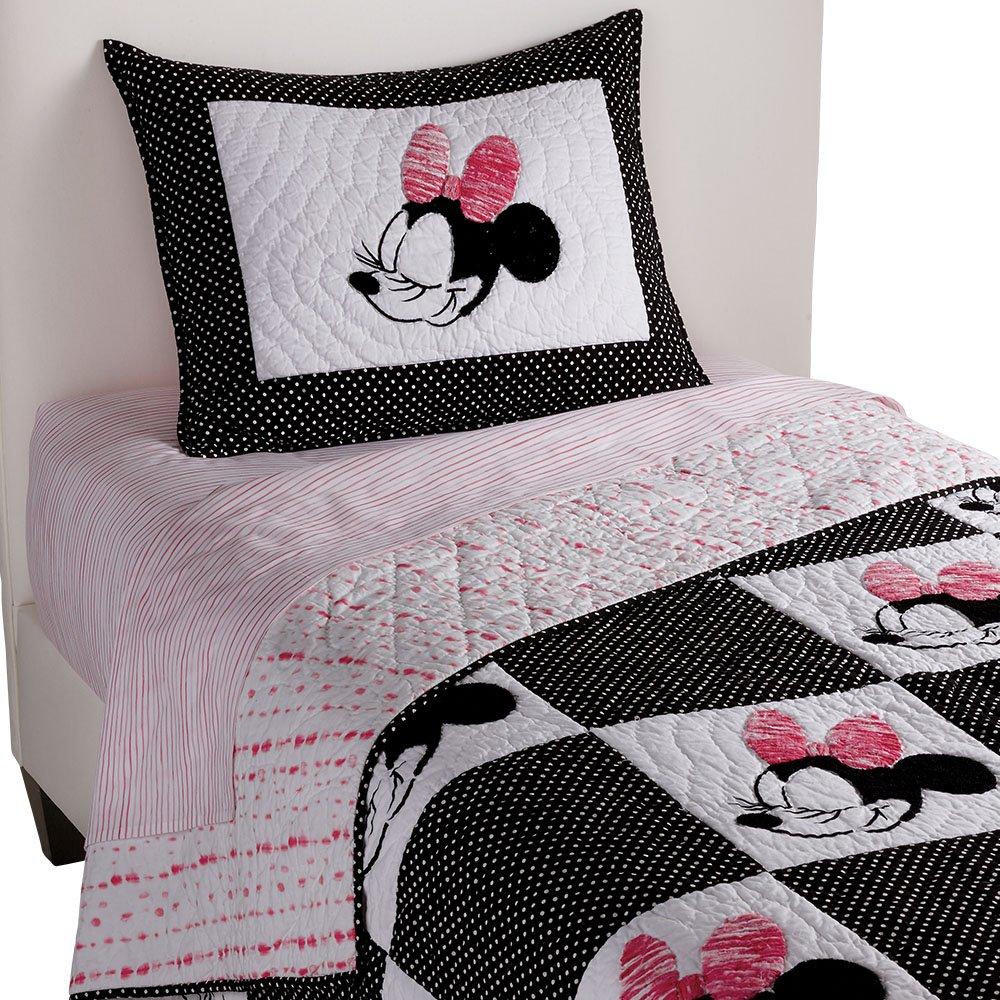 Ethan Allen | Disney  Mad About Minnie Mouse Quilt, Minnie Pink (Dark Pink), Twin