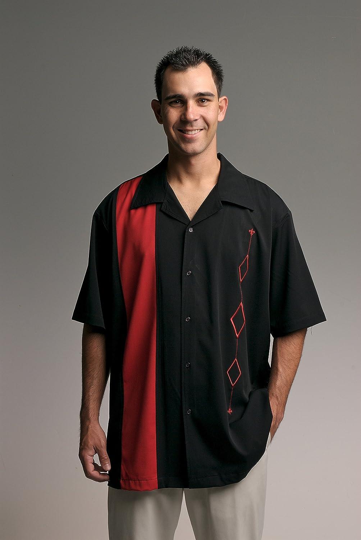 Designs by Attila para Hombre Retro Camisa de Bolos, Big & Tall. Todos los Tamaños Disponible Rojo y Negro - -: Amazon.es: Ropa y accesorios