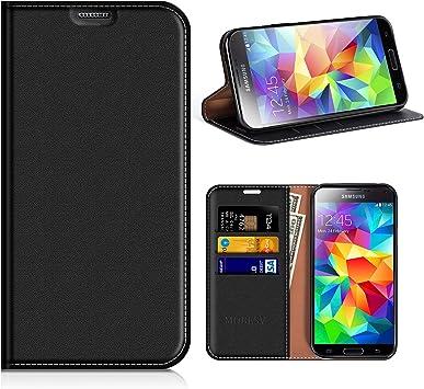 MOBESV Funda Cartera Samsung Galaxy S5, Funda Cuero Movil ...